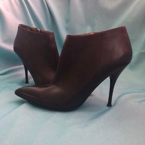 "Guess Black Leather Stilettos Booties 4"" Heels"